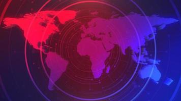 Animación gráfica de introducción de noticias con círculos y mapa del mundo, fondo abstracto video
