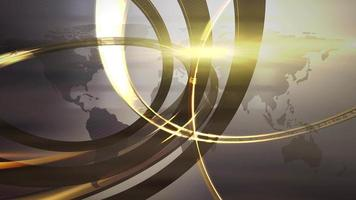 nieuws intro grafische animatie met cirkels en wereldkaart, abstracte achtergrond