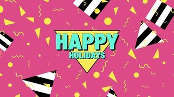 animación texto felices fiestas y movimiento formas geométricas abstractas, fondo de memphis video