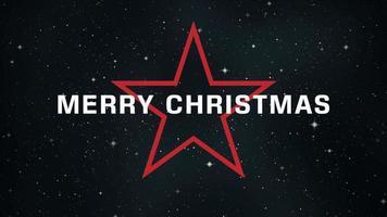 texto de introducción de animación feliz navidad en el fondo de moda y club con estrella roja brillante en el cosmos video