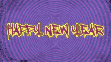 animatie intro tekst gelukkig nieuwjaar op paarse hipster en grunge achtergrond met hoogtevrees cirkels