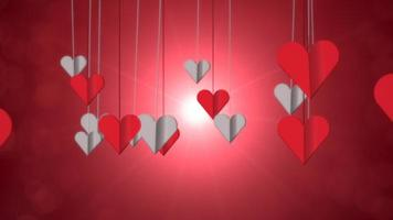 animação closeup movimento corações românticos no fundo brilhante do dia dos namorados video