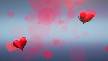 animação movimento pequenos corações românticos vermelhos em fundo azul brilhante de dia dos namorados video