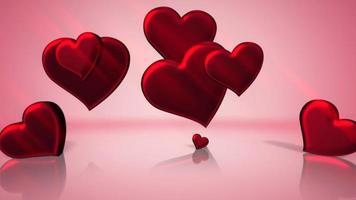 animação closeup movimento pequenos corações românticos em fundo rosa brilhante de dia dos namorados video