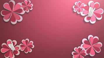 animation closeup motion fleurs romantiques sur fond brillant de vacances rouges