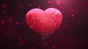 animação closeup movimento grande coração romântico e pequenos corações em fundo vermelho brilhante de dia dos namorados video