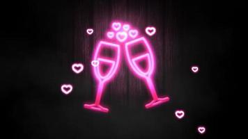 animação closeup movimento coração romântico no fundo brilhante do dia dos namorados video