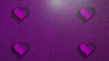 animação closeup movimento pequenos corações românticos em fundo roxo brilhante do dia dos namorados video