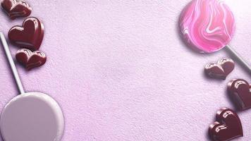 animatie close-up beweging romantische harten op Valentijnsdag glanzende achtergrond video