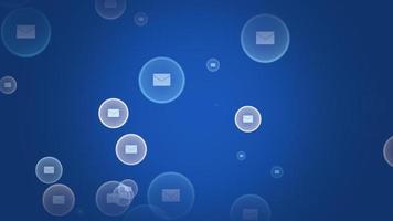 icônes de message de mouvement sur fond de réseau simple