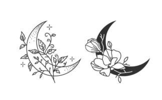 Set of floral moons. Crescent moons. vector