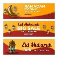 Ramadan sale banner set vector