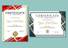 certificate template with luxury and modern pattern, diploma, certificate of achievement award design template vector