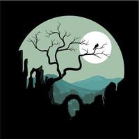 vector illustration of a silhouette hills art