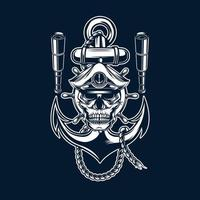 marine skull with anchor vector