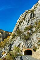 Road in Danube gorge in Djerdap on the Serbian-Romanian border photo