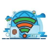wireless conection illustration. Flat vector icon