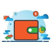 wallet illustration. Flat vector icon. can use for, icon design element,ui, web, mobile app.