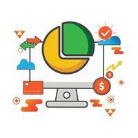 Ilustración de diagrama circular de gráfico. Ilustración de computadora. icono de vector plano. puede utilizar para, elemento de diseño de icono, interfaz de usuario, web, aplicación móvil.
