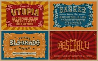 A bundle of vintage fonts, these fonts are perfect for short phrases or headlines and can be used for many creative products such as alcohol labels, emblems, posters, and many others vector
