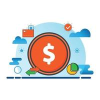 money illustration. Flat vector icon. can use for, icon design element,ui, web, mobile app.