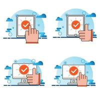 computer and smartphone with checkmark icon set vector