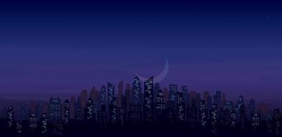 modern night city skyline landscape background vector