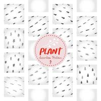 Plant pattern, black and white hand-drawn tree doodle digital paper, abstract plants repeating background, the monochrome herb vector wallpaper, cute shrub decorative element