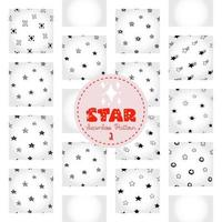 patrón de estrella, papel digital doodle astral dibujado a mano en blanco y negro, estrellas abstractas que repiten el fondo, el papel tapiz monocromático del vector estelar, lindo elemento decorativo estrellado