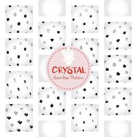 Crystal pattern, black and white hand-drawn gem doodle digital paper, abstract crystals repeating background, the monochrome grain vector wallpaper, cute gravel decorative element