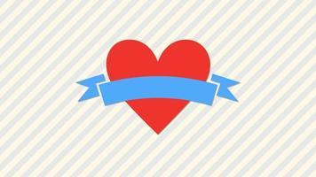 animiertes nahes romantisches rotes großes Herz der Nahaufnahme mit Streifenmuster auf Valentinstaghintergrund.