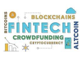 Text and Fintech Investment Financial Technology Line Design vector