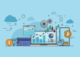 Gráfico de información de inversión de negocios financieros de fintech. vector