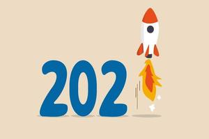 New year 2021 economic recovery, launching rocket on number one. vector