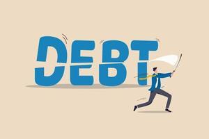 hombre de negocios cortando o cortando la palabra deuda por la mitad vector