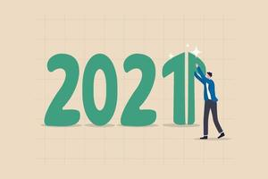 Year 2021 economic recovery with a green rising arrow graph on number 1 vector