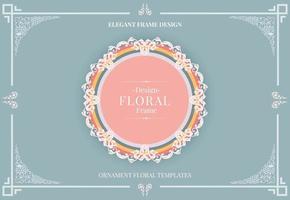 elegant ornamental floral rounded frame in soft colors vector