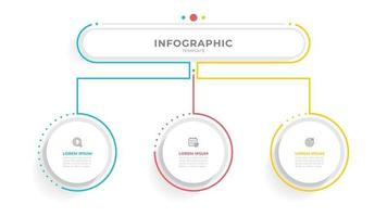 Vector business info graphic template with 3 options or steps.