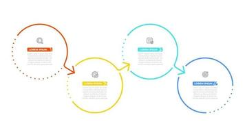 Vector info graphic template design with circle and arrows. Business concept with 4 options or steps.