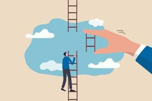 businessman climbing up to top of broken ladder with huge helping hand vector