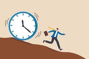 businessman running away from the deadline concept vector