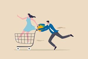 lady holding shopping bags on a shopping cart vector