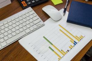gráficos financieros en un escritorio foto