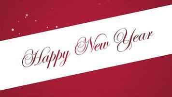 closeup animado texto de feliz ano novo em fundo vermelho