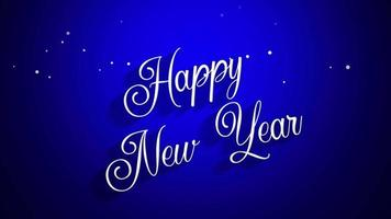 closeup animado texto de feliz ano novo em fundo azul video