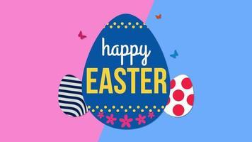 animierte Nahaufnahme glücklichen Ostertext und Eier auf rosa und blauem Schwindelhintergrund video