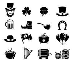 St patricks day icons. Vector illustrations.