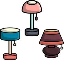 set of table lamp perfect for design project vector