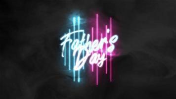 texte d'animation fête des pères sur fond de mode et de club avec des lignes néon bleues et violettes video