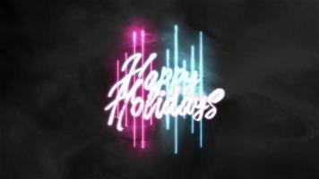 Animación texto felices fiestas y movimiento líneas de neón geométricas abstractas, fondo de discoteca video